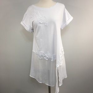 NWT Anthro Akemi + Kin White Kris Lace Tunic Top